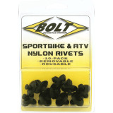 Bolt Motorcycle Hardware M8 Nylon Pry Rivets - Motorcycle Fairings & Body Parts