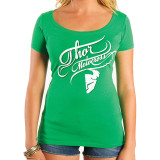 Thor 2014 Women's Curly-Q Scoop Neck T-Shirt - Motorcycle Womens Casual