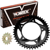 Vortex Sprocket & Chain Kit 525 - Kawasaki 2015-EX250-NINJA-250--VORTEX-SPROCKET-CHAIN-KIT-520-BLACK Vortex Motorcycle