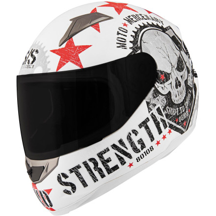 Speed & Strength SS1100 Moto Mercenary Full Face Motorcycle Helmet - White